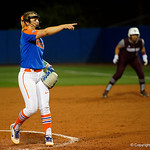 University of Florida Gators Softball pitcher Kelly Barnhill points to an A&M batter after striking them out as the Gators defeat the #8 Texas A&M Aggies 7-3 to complete the sweep at Katie Seashole Pressly Softball Stadium in Gainesville, Florida.  March 26th, 2018. Gator Country photo by David Bowie.