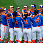 The Florida Gators gather together before they take the field as the Gators defeat the #8 Texas A&M Aggies 7-3 to complete the sweep at Katie Seashole Pressly Softball Stadium in Gainesville, Florida.  March 26th, 2018. Gator Country photo by David Bowie.