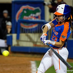 University of Florida Gators Softball infielder Nicole DeWitt singles as the Gators defeat the #8 Texas A&M Aggies 7-3 to complete the sweep at Katie Seashole Pressly Softball Stadium in Gainesville, Florida.  March 26th, 2018. Gator Country photo by David Bowie.