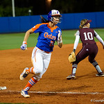 University of Florida Gators Softball infielder Nicole DeWitt rounds third as the Gators defeat the #8 Texas A&M Aggies 7-3 to complete the sweep at Katie Seashole Pressly Softball Stadium in Gainesville, Florida.  March 26th, 2018. Gator Country photo by David Bowie.
