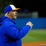 University of Florida Gators Softball head coach Tim Walton coaching on from third base as the Gators defeat the #8 Texas A&M Aggies 7-3 to complete the sweep at Katie Seashole Pressly Softball Stadium in Gainesville, Florida.  March 26th, 2018. Gator Country photo by David Bowie.