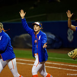 THe Florida Gators celebrate as the Gators defeat the #8 Texas A&M Aggies 7-3 to complete the sweep at Katie Seashole Pressly Softball Stadium in Gainesville, Florida.  March 26th, 2018. Gator Country photo by David Bowie.