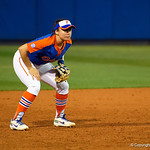 University of Florida Gators Softball infielder Sophia Reynoso gets set at shortstop as the Gators defeat the #8 Texas A&M Aggies 7-3 to complete the sweep at Katie Seashole Pressly Softball Stadium in Gainesville, Florida.  March 26th, 2018. Gator Country photo by David Bowie.