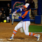 University of Florida Gators Softball first baseman Kayli Kvistad swings away as the Gators defeat the #8 Texas A&M Aggies 7-3 to complete the sweep at Katie Seashole Pressly Softball Stadium in Gainesville, Florida.  March 26th, 2018. Gator Country photo by David Bowie.
