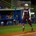 Texas A&M pitcher.UT SAMANTHA SHOW celebrates after hitting a home run as the Gators defeat the #8 Texas A&M Aggies 7-3 to complete the sweep at Katie Seashole Pressly Softball Stadium in Gainesville, Florida.  March 26th, 2018. Gator Country photo by David Bowie.