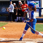 University of Florida Gators Softball pitcher Aleshia Ocasio singles and drives in a run to give the Gators a 4-0 lead in the first inning, as the Gators defeat the Maryland Terrapins 12-0 at Katie Seashole Pressly Softball Stadium in Gainesville, Florida.  February 24th, 2018. Gator Country photo by David Bowie.