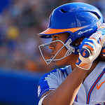 University of Florida Gators Softball pitcher Aleshia Ocasio stands on deck watching on as the Gators defeat the Maryland Terrapins 12-0 at Katie Seashole Pressly Softball Stadium in Gainesville, Florida.  February 24th, 2018. Gator Country photo by David Bowie.