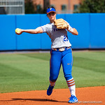 University of Florida Gators Softball infielder Nicole DeWitt throwing during pregame as the Gators defeat the Maryland Terrapins 12-0 at Katie Seashole Pressly Softball Stadium in Gainesville, Florida.  February 24th, 2018. Gator Country photo by David Bowie.