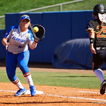 University of Florida Gators Softball first baseman Kayli Kvistad eyes in a ball for a force out at first base as the Gators defeat the Maryland Terrapins 12-0 at Katie Seashole Pressly Softball Stadium in Gainesville, Florida.  February 24th, 2018. Gator Country photo by David Bowie.
