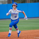 University of Florida Gators Softball UT/C Danielle Romanello rounds second base and sprints toward third as the Gators defeat the Maryland Terrapins 12-0 at Katie Seashole Pressly Softball Stadium in Gainesville, Florida.  February 24th, 2018. Gator Country photo by David Bowie.