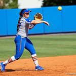 University of Florida Gators Softball infielder Sophia Reynoso throws to first base for a ground out as the Gators defeat the Maryland Terrapins 12-0 at Katie Seashole Pressly Softball Stadium in Gainesville, Florida.  February 24th, 2018. Gator Country photo by David Bowie.