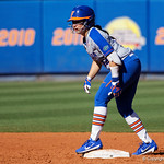 University of Florida Gators Softball infielder Sophia Reynoso stands on second base as the Gators defeat the Maryland Terrapins 12-0 at Katie Seashole Pressly Softball Stadium in Gainesville, Florida.  February 24th, 2018. Gator Country photo by David Bowie.