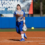 University of Florida Gators Softball pitcher Natalie Lugo pitching as the Gators defeat the Maryland Terrapins 12-0 at Katie Seashole Pressly Softball Stadium in Gainesville, Florida.  February 24th, 2018. Gator Country photo by David Bowie.