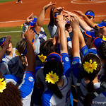 The University of Florida Gators softball team get ready to take the field as the Gators defeat the Maryland Terrapins 12-0 at Katie Seashole Pressly Softball Stadium in Gainesville, Florida.  February 24th, 2018. Gator Country photo by David Bowie.