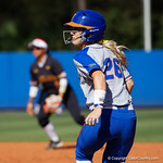 University of Florida Gators Softball outifelder Haven Sampson in pitch running leads off first base as the Gators defeat the Maryland Terrapins 12-0 at Katie Seashole Pressly Softball Stadium in Gainesville, Florida.  February 24th, 2018. Gator Country photo by David Bowie.