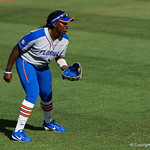 University of Florida Gators Softball infielder Jaimie Hoover gets set in the outfield as the Gators defeat the Maryland Terrapins 12-0 at Katie Seashole Pressly Softball Stadium in Gainesville, Florida.  February 24th, 2018. Gator Country photo by David Bowie.