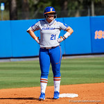 University of Florida Gators Softball first baseman Kayli Kvistad stands on second base after doubling to give the Gators a 3-0 lead in the first inning, as the Gators defeat the Maryland Terrapins 12-0 at Katie Seashole Pressly Softball Stadium in Gainesville, Florida.  February 24th, 2018. Gator Country photo by David Bowie.