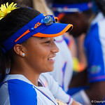 University of Florida Gators Softball infielder Jordan Matthews is all smiles during pregame as the Gators defeat the Maryland Terrapins 12-0 at Katie Seashole Pressly Softball Stadium in Gainesville, Florida.  February 24th, 2018. Gator Country photo by David Bowie.