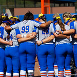 The University of Florida Gators softball team huddles together prior to the first pitch as the Gators defeat the Maryland Terrapins 12-0 at Katie Seashole Pressly Softball Stadium in Gainesville, Florida.  February 24th, 2018. Gator Country photo by David Bowie.