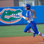 University of Florida Gators Softball outifelder Lily Mann rounds second base as the Gators defeat the Maryland Terrapins 12-0 at Katie Seashole Pressly Softball Stadium in Gainesville, Florida.  February 24th, 2018. Gator Country photo by David Bowie.