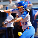 University of Florida Gators Softball infielder Nicole DeWitt lays down a bunt as the Gators defeat the Maryland Terrapins 12-0 at Katie Seashole Pressly Softball Stadium in Gainesville, Florida.  February 24th, 2018. Gator Country photo by David Bowie.