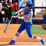 University of Florida Gators Softball infielder Hannah Adams at the plate as the Gators defeat the Maryland Terrapins 12-0 at Katie Seashole Pressly Softball Stadium in Gainesville, Florida.  February 24th, 2018. Gator Country photo by David Bowie.