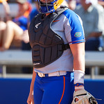University of Florida Gators Softball catcher Jordan Roberts looks to the Gators dugout for the pitch call as the Gators defeat the Maryland Terrapins 12-0 at Katie Seashole Pressly Softball Stadium in Gainesville, Florida.  February 24th, 2018. Gator Country photo by David Bowie.