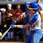 University of Florida Gators Softball outifelder Lily Mann singles as the Gators defeat the Maryland Terrapins 12-0 at Katie Seashole Pressly Softball Stadium in Gainesville, Florida.  February 24th, 2018. Gator Country photo by David Bowie.