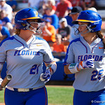 University of Florida Gators Softball first baseman Kayli Kvistad and University of Florida Gators Softball C/1B Janell Wheaton after Wheaton scores to put the Gators up 7-0 as the Gators defeat the Maryland Terrapins 12-0 at Katie Seashole Pressly Softball Stadium in Gainesville, Florida.  February 24th, 2018. Gator Country photo by David Bowie.