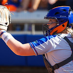 University of Florida Gators Softball catcher Jordan Roberts behind the plate as the Gators defeat the Maryland Terrapins 12-0 at Katie Seashole Pressly Softball Stadium in Gainesville, Florida.  February 24th, 2018. Gator Country photo by David Bowie.