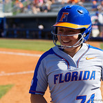 University of Florida Gators Softball infielder Sophia Reynoso is all smiles after scoring as the Gators defeat the Maryland Terrapins 12-0 at Katie Seashole Pressly Softball Stadium in Gainesville, Florida.  February 24th, 2018. Gator Country photo by David Bowie.