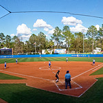 An overview of Katie Seashole Pressly Stadium as the University of Florida Gators softball team defeats the Maryland Terrapins 12-0 at Katie Seashole Pressly Softball Stadium in Gainesville, Florida.  February 24th, 2018. Gator Country photo by David Bowie.