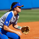 University of Florida Gators Softball infielder Nicole DeWitt set at third base as the Gators defeat the Maryland Terrapins 12-0 at Katie Seashole Pressly Softball Stadium in Gainesville, Florida.  February 24th, 2018. Gator Country photo by David Bowie.