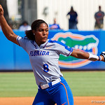 University of Florida Gators Softball pitcher Aleshia Ocasio pitching as the Gators defeat the Maryland Terrapins 12-0 at Katie Seashole Pressly Softball Stadium in Gainesville, Florida.  February 24th, 2018. Gator Country photo by David Bowie.