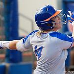 University of Florida Gators Softball catcher Jordan Roberts singles as the Gators defeat the Maryland Terrapins 12-0 at Katie Seashole Pressly Softball Stadium in Gainesville, Florida.  February 24th, 2018. Gator Country photo by David Bowie.