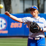 University of Florida Gators Softball first baseman Kayli Kvistad throwing during pregame as the Gators defeat the Maryland Terrapins 12-0 at Katie Seashole Pressly Softball Stadium in Gainesville, Florida.  February 24th, 2018. Gator Country photo by David Bowie.