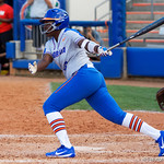 University of Florida Gators Softball infielder Jaimie Hoover swinging away as the Gators defeat the Maryland Terrapins 12-0 at Katie Seashole Pressly Softball Stadium in Gainesville, Florida.  February 24th, 2018. Gator Country photo by David Bowie.