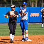 University of Florida Gators Softball infielder Hannah Adams celebrates after doubling and giving the Gators a 8-0 lead as the Gators defeat the Maryland Terrapins 12-0 at Katie Seashole Pressly Softball Stadium in Gainesville, Florida.  February 24th, 2018. Gator Country photo by David Bowie.