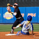 University of Florida Gators Softball outifelder Haven Sampson slides into second base as the Gators defeat the Maryland Terrapins 12-0 at Katie Seashole Pressly Softball Stadium in Gainesville, Florida.  February 24th, 2018. Gator Country photo by David Bowie.