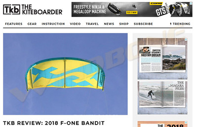 2018 F-One Bandit B11 Kite Review by TKB The Kiteboarder Magazine Review