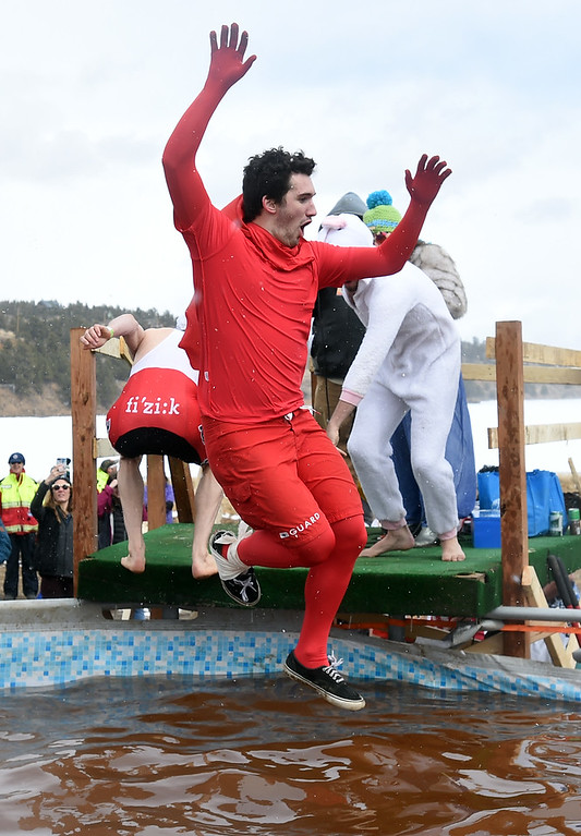 . Ben Chappell managed to make it to the plunge after an ankle injury on Saturday during 2018 Frozen Dead Guy Days in Nederland. The festival continues on Sunday. For more photos, go to dailycamera.com. Cliff Grassmick  Photographer  March 10, 2018