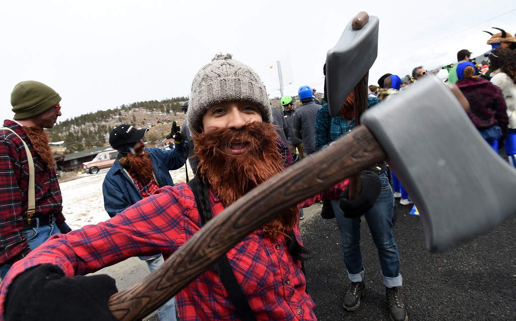 . Mayra Walter shows that she is good with an axe or two  on Saturday during 2018 Frozen Dead Guy Days in Nederland. The festival continues on Sunday. For more photos, go to dailycamera.com. Cliff Grassmick  Photographer  March 10, 2018