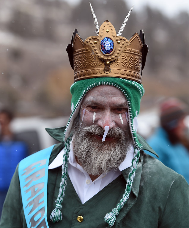 . It is good to be King, Sigurd Torgerson, of the festivities on Saturday during 2018 Frozen Dead Guy Days in Nederland. The festival continues on Sunday. For more photos, go to dailycamera.com. Cliff Grassmick  Photographer  March 10, 2018