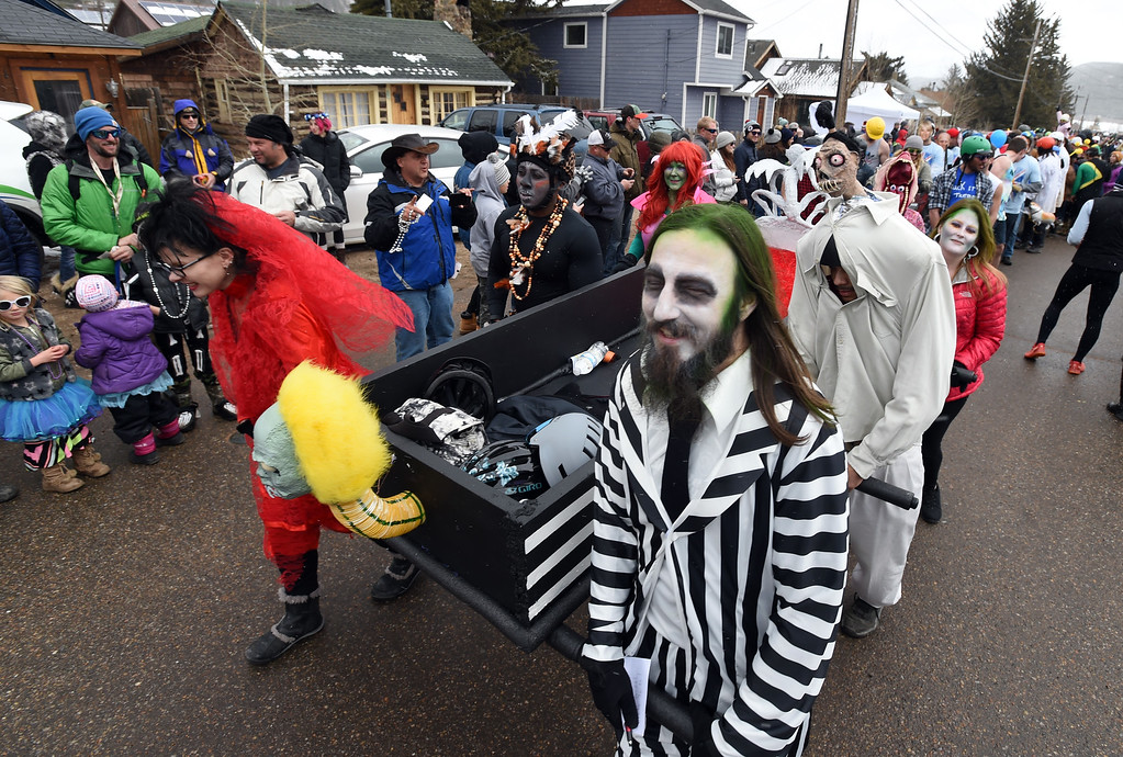 . The UC Health coffin racer team on Saturday during 2018 Frozen Dead Guy Days in Nederland. The festival continues on Sunday. For more photos, go to dailycamera.com. Cliff Grassmick  Photographer  March 10, 2018