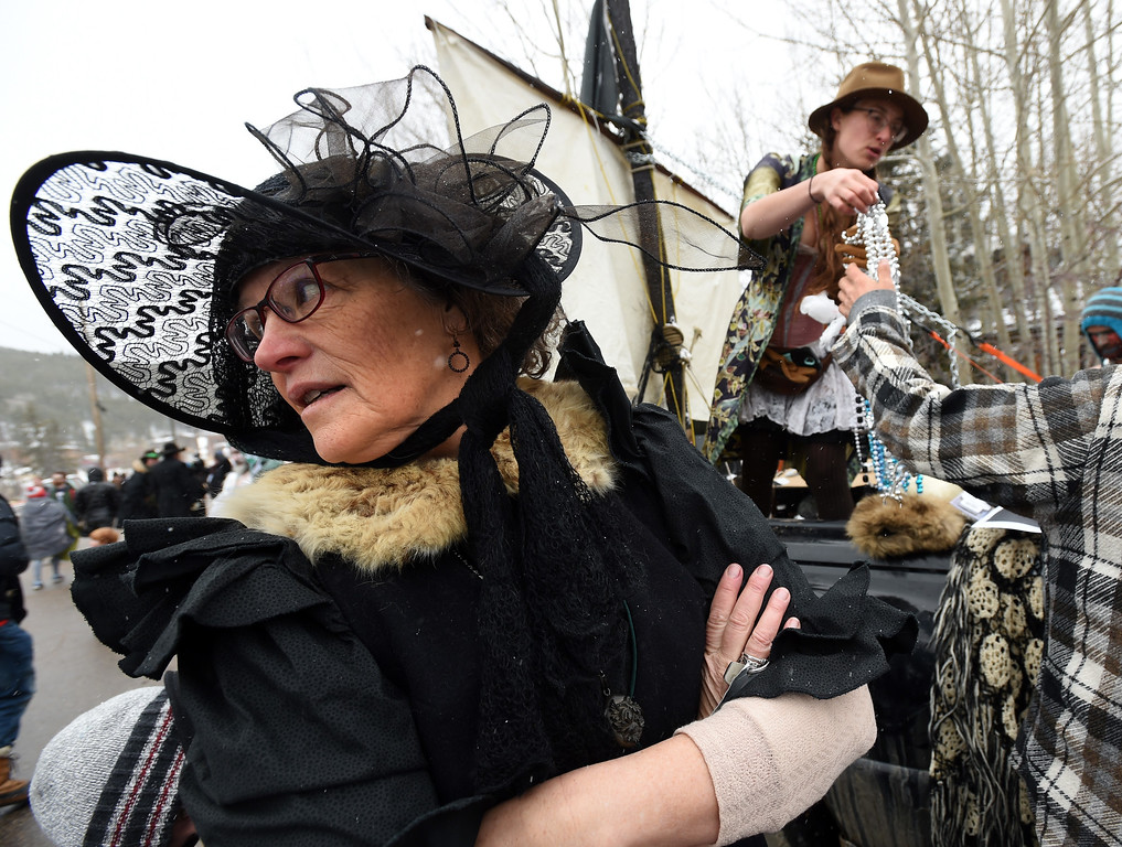 . Virginia Schultz of the dead days poet society on Saturday during 2018 Frozen Dead Guy Days in Nederland. The festival continues on Sunday. For more photos, go to dailycamera.com. Cliff Grassmick  Photographer  March 10, 2018