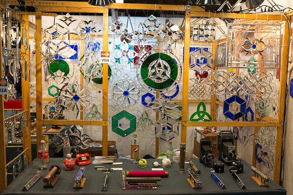 JOED VIERA/STAFF PHOTOGRAPHER-Lockport, NY- Stained glass pieces and kaleidoscopes made by Elwood Huff are on display at the Kenan Center during their 100 Craftsman event.