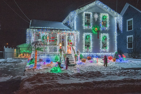 181207 Christmas Houses 2<br /> James Neiss/staff photographer <br /> Lockport, NY - Two houses on Maple Street, 15 and 54 seem to have gone above and beyond to show off their Christmas Spirit. Here, 54 Maple just glows with spirit.