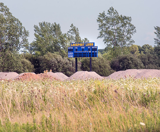 James Neiss/staff photographer <br /> Lockport, NY - Sign of Progress: A scoreboard is now in place as construction continues on new Lockport High School baseball complex on Beattie Road.