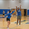 James Neiss/staff photographer <br /> Sanborn, NY - Niagara County Community College women's basketball player Kenetria Redfern shoots the ball during a game of one on one with Paige Emborsky during practice.