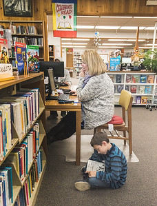 James Neiss/staff photographer  Sanborn, NY - Lynne Conrad of Lewiston works on the computer at the Sanborn Public Library as her son Drew, 8, enjoys a good read.
